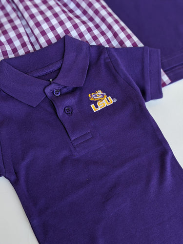 LSU Polo Bodysuit- Purple