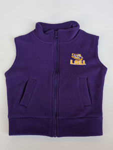 LSU Polar Fleece Vest- Purple