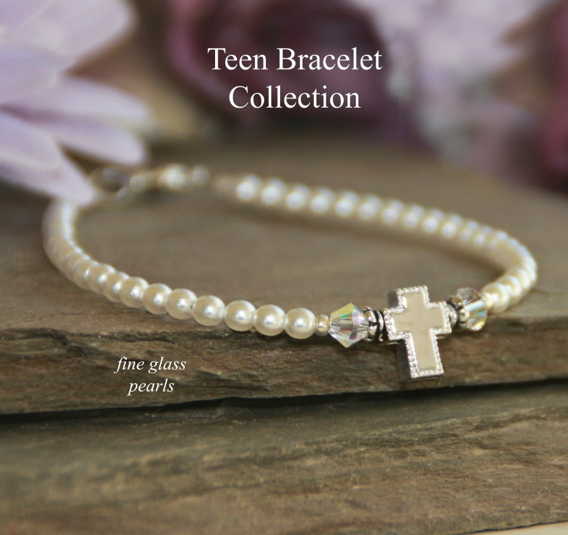 Teen Prayer Bracelet Glass Pearl Swarovski