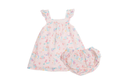 Mermaids Sundress and Diaper Cover- Pink