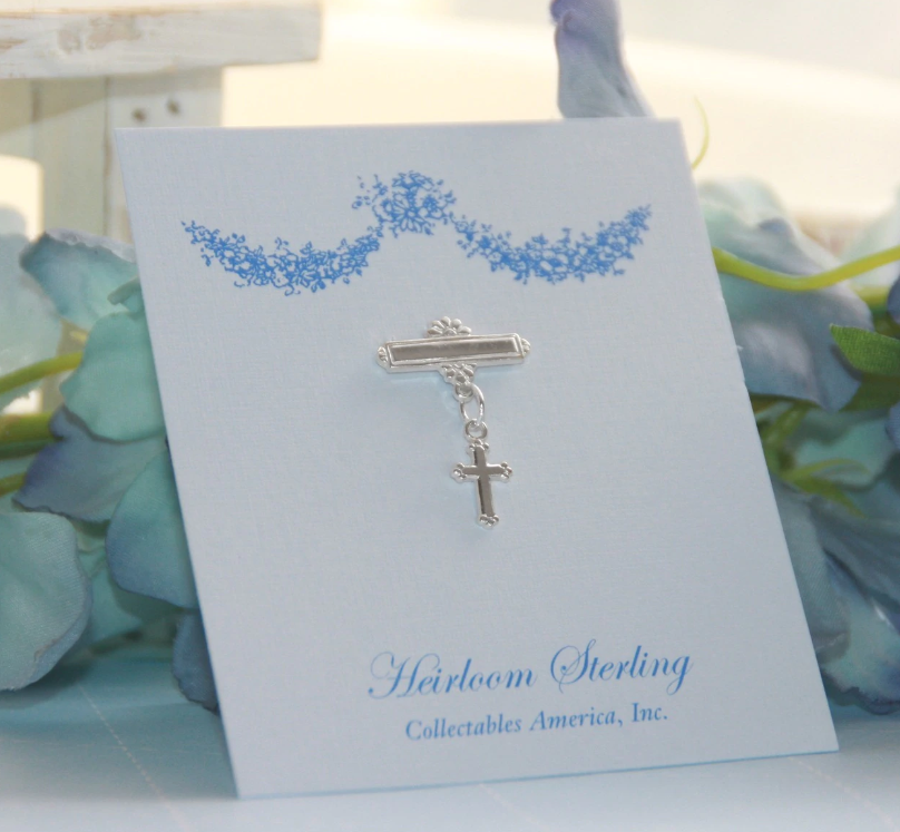 BABY KEEPSAKE PIN WITH CROSS