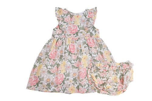 Traditional Floral Dress and Diaper Cover