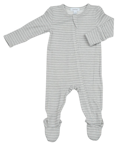 Grey Stripe Hippo Zipper Footie