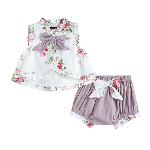 Ruffle and Bows Top and Bloomer Set