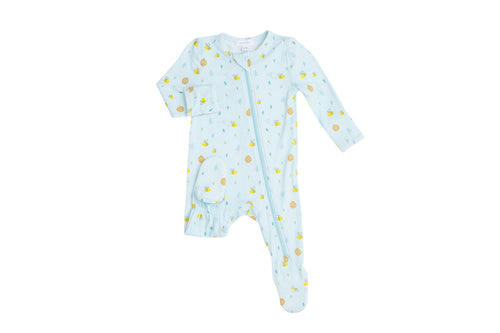 Little Bee Zipper Footie- Blue