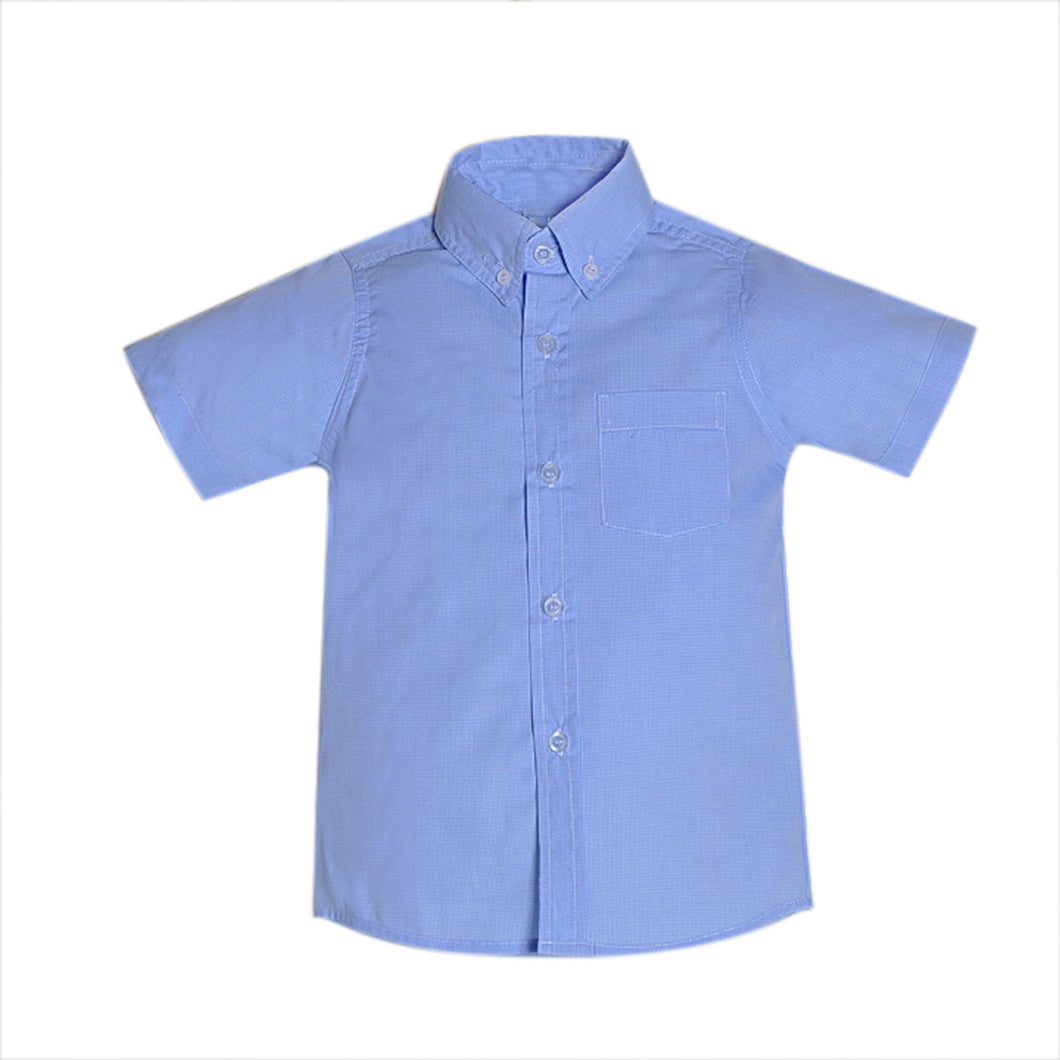 Blue Micro Gingham Brother Shirt
