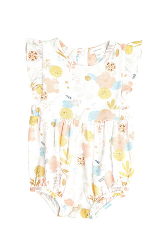 Dandy Lion Ruffle Sunsuit- White