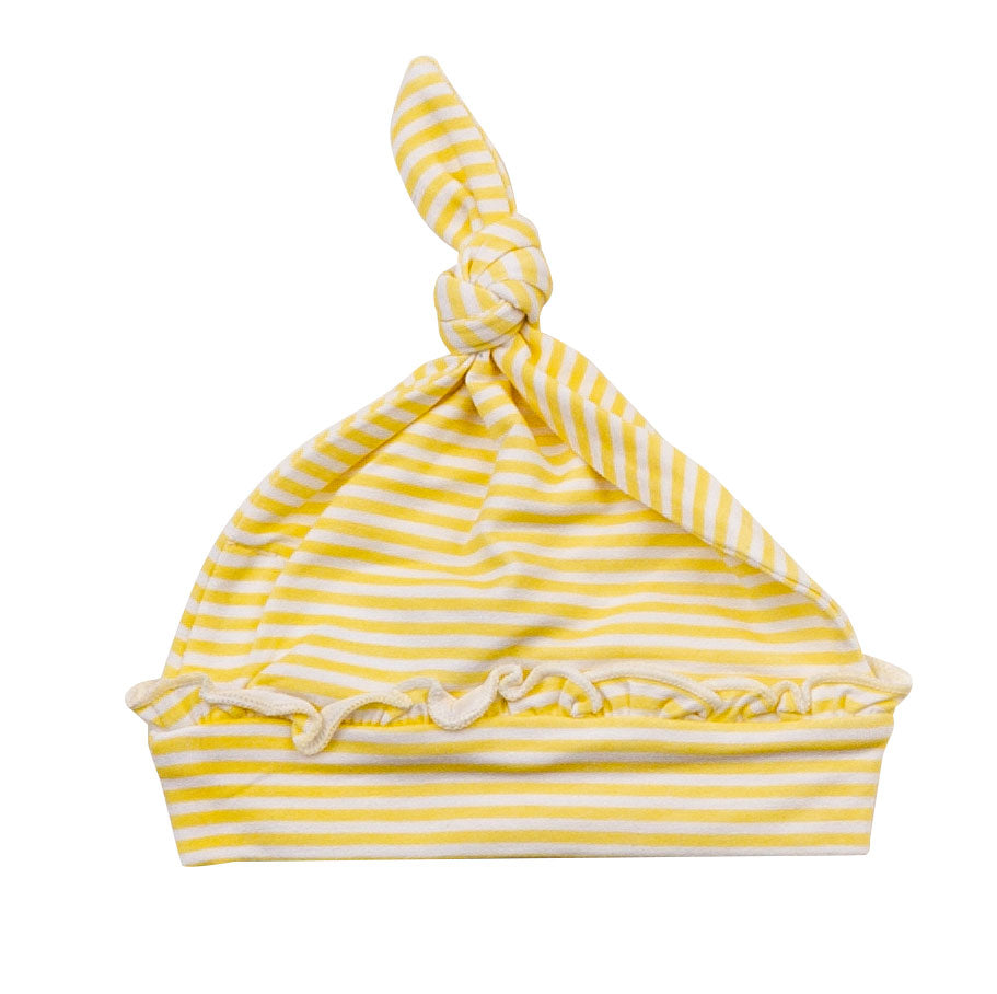 Basics Yellow Stripe Knotted Hat 0-3M