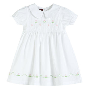Hand-Stitched Flowers Dress- White