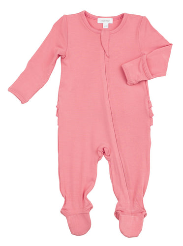 Solid Pink Basics Ruffle Back Zipper Footie