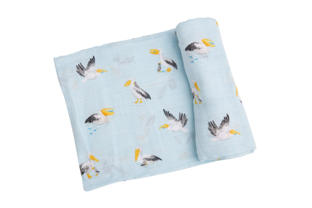 Pelicans Swaddle Blanket- Blue