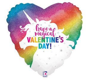"18"" Rainbow Unicorn Valentine Balloon"