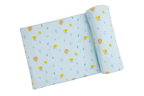 Little Bee Swaddle Blanket- Blue