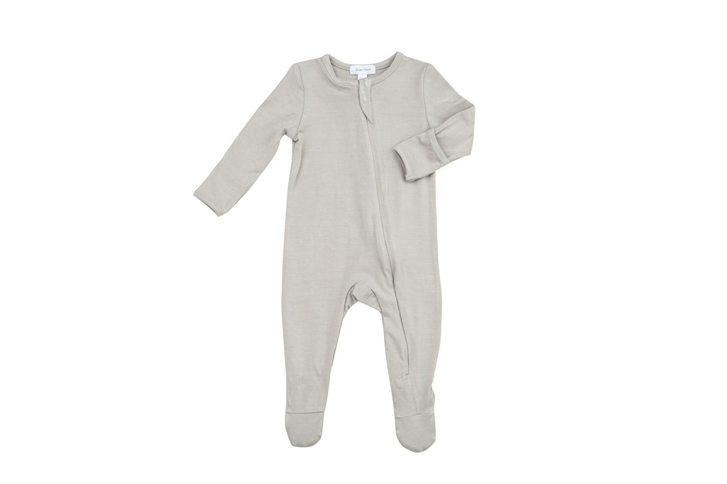 Solid Basics Grey Zipper Footie