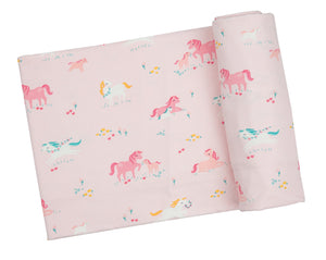 Girl Ponies Swaddle Blanket