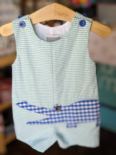 Striped Gingham Crocodile Applique Shortall