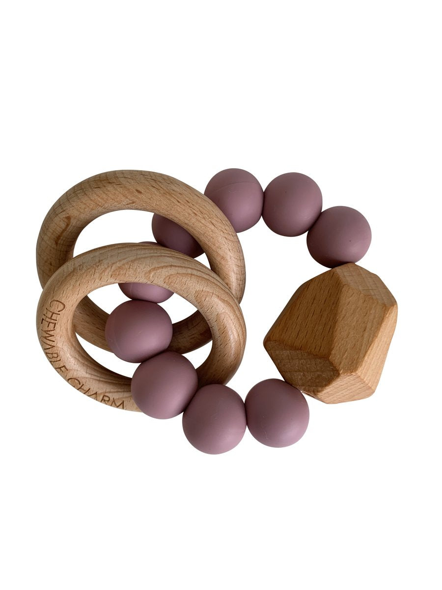 Hayes Silicone + Wood Teether Toy - Gem