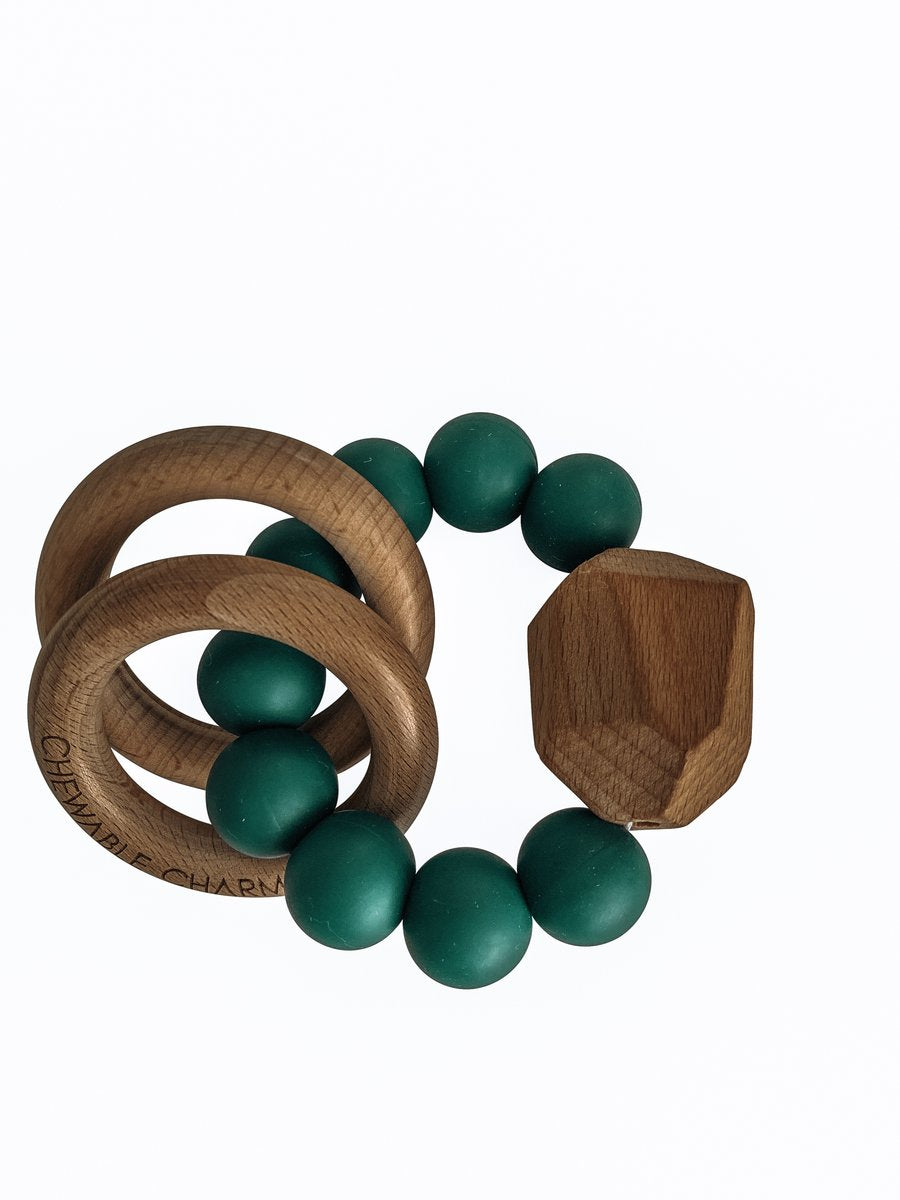 Hayes Silicone + Wood Teether Toy - Peacock