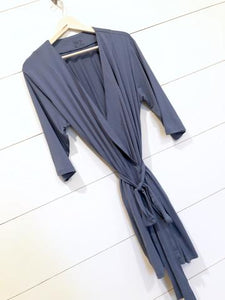 Women's Robe - Stone Blue Solid