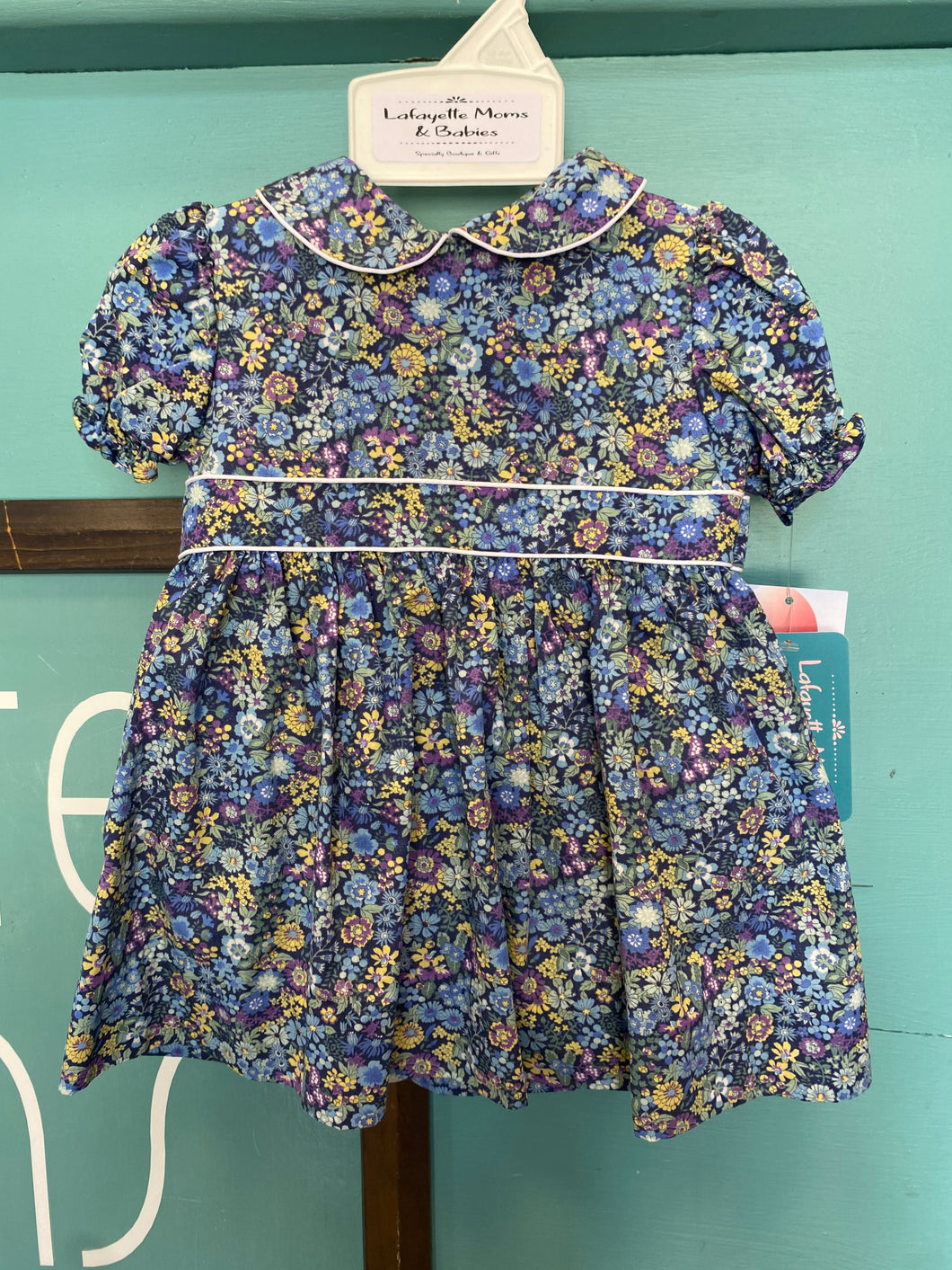 Petit Ami Floral Blue Dress & Bloomers