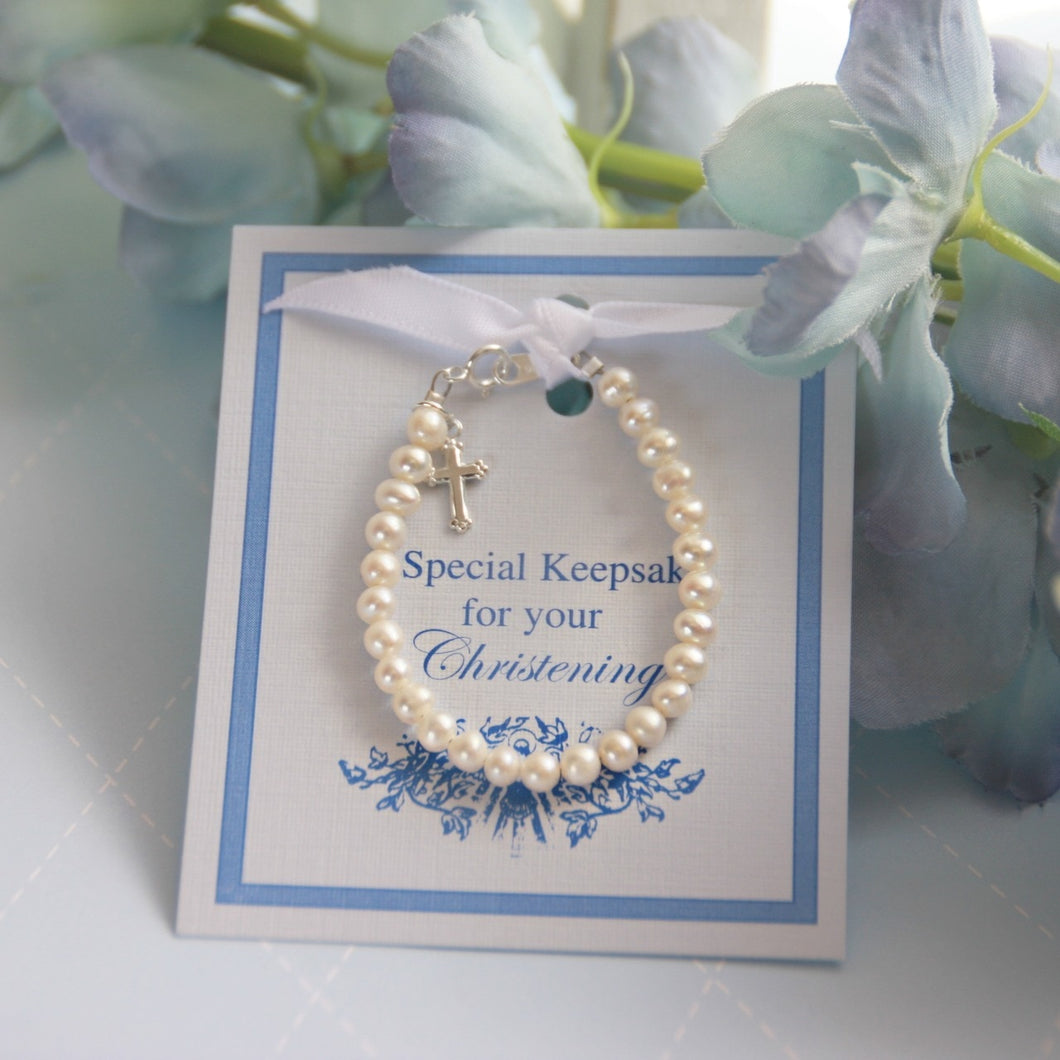 Freshwater Pearls and Sterling Silver Christening Bracelet- 5