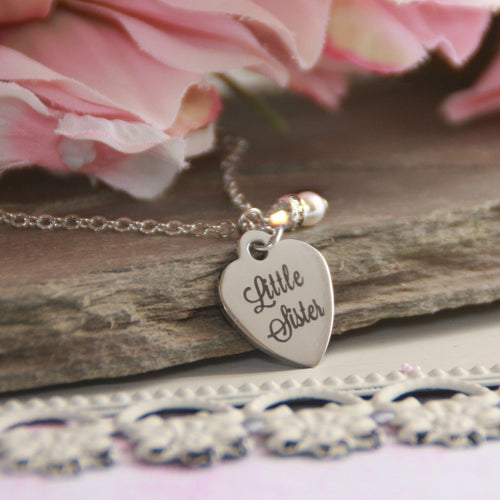 Little Sister Stainless Steel Heart Necklace