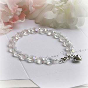Crystal AB Bracelet With Heart Charm- 5""