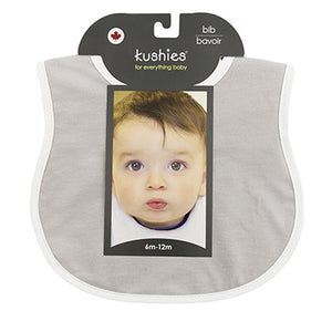 Organic Jersey Rounded Bib- Grey/White