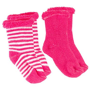 Fuchsia Solid / Striped Socks Terry (0-3m) 2-Pack