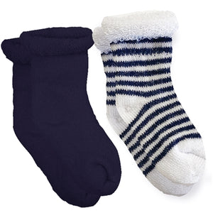 Navy Solid / Striped Terry Socks (0-3m) 2-Pack