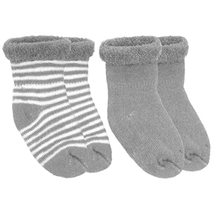 Grey Solid / Striped Socks Terry (0-3m) 2-Pack