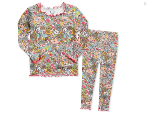 Shirring Long Sleeve Pajama Set- Floral