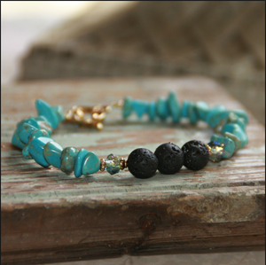 Essential Oil Diffuser Bracelet Turquoise chips with Lava Stone