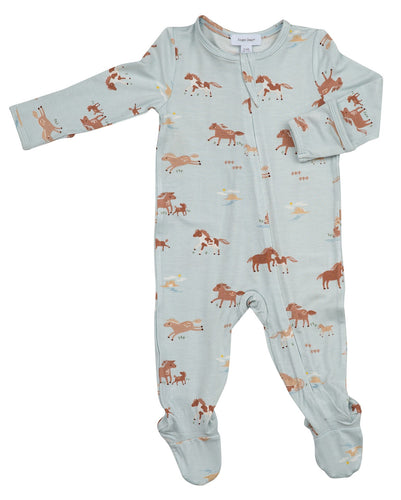 Wild Horses Zipper Footie