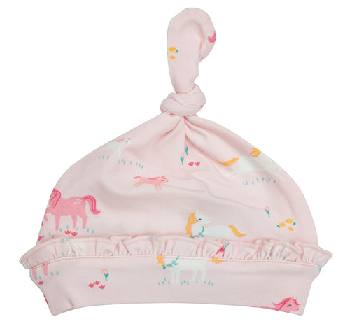 Girl Ponies Ruffle Knotted Hat 0-3M