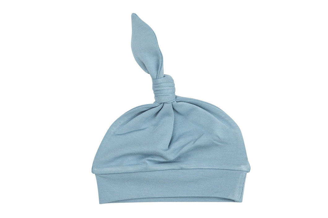 Solid Basic Blue Knotted Hat 0-3M