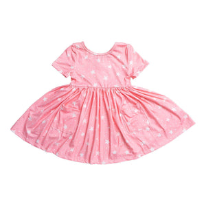 Pink Star Pocket Twirl Dress