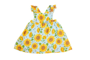 Sunflowers Pinafore Top and Bloomer- Whispering Blue