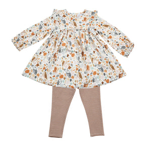 Autumn Owls Ruffle Dress and Leggings