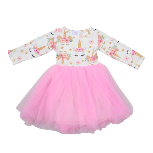 Unicorn Dream Pink Long Sleeve Tutu Dress