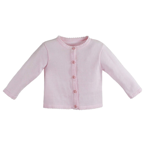 Scalloped Edge Cardigan Sweater- Pink