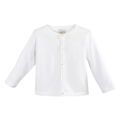 Ladder Edge Cardigan Sweater- White