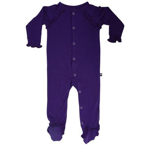 Piped Zipper Footie- Royal Grape