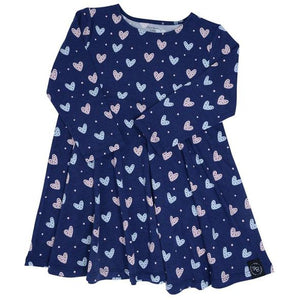 Swirly Girl Dress- Hearts