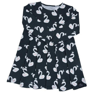 Swirly Girl Dress- Swans