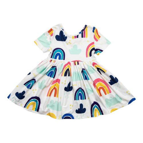 Rainy Day Short Sleeve Twirl Dress