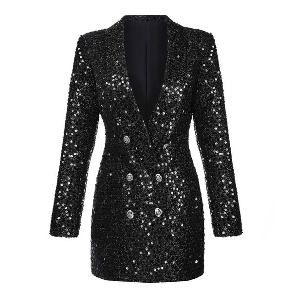 e7f75172b11 ... Jaka Black Sequin Blazer Dress - Jaymes Couture
