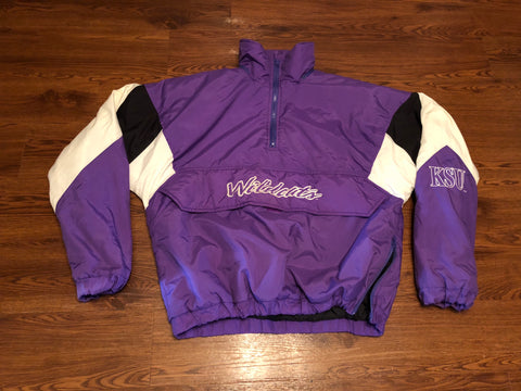 Vintage Purple Kansas State Wildcats Pullover 1 4th zip Jacket New  Condition sz L 37431326a