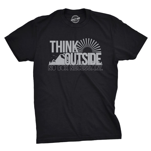 Funny Black Think Outside Funny No Box Necessary Mens T Shirt Nerdy Camping Tee