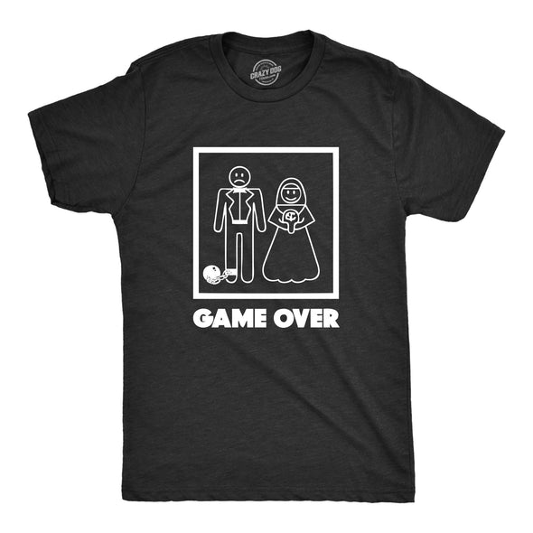 Funny Black Game Over Mens T Shirt Nerdy Video Games Wedding Tee